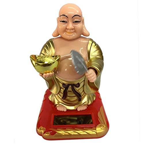 Happy Buddha Solar Figure Bobble Figure Solar Decoration Figurine Decoration (Color : -, Size : -)