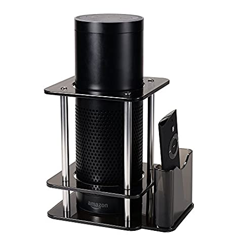 Speaker Stand for Amazon Echo Plus and Echo Alexa 1st Generation with Remote Holder, Acrylic, Black