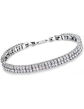 Comtex Armband Damen Tennis mit Kristal Zirkonia Silber Vergoldet Bling Diamant Schmuck