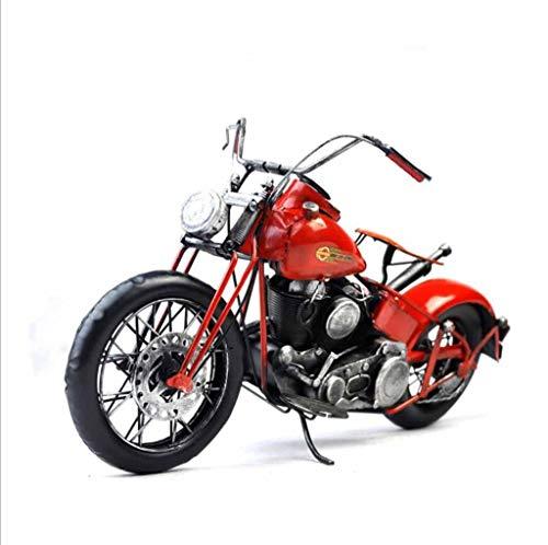 ZXWDIAN Automodell Spielzeugauto Retro kreative einrichtungen motorrad modell requisiten studie fenster bar fotografie metall stil dekorative handwerk rot 38x18x20 cm Autos Fahrzeuge Spielzeug (Vintage Motorrad-reifen 18)