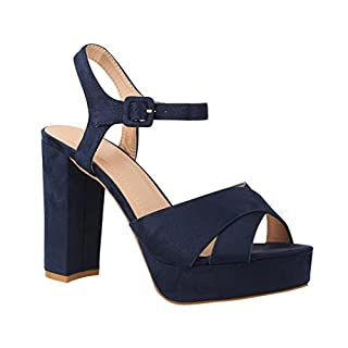 Elara Damen Pumps | Bequeme Peep-Toe Pumps | Trendige Plateau High Heels | Chunkyrayan AT0986 Blue-39