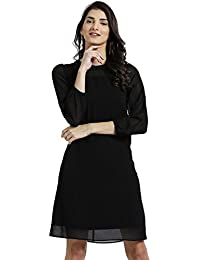Zink London Round Neck Solid A-Line Dress for Women