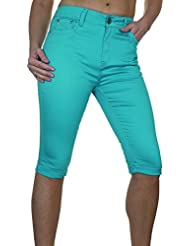 ICE (1479-6) Pantacourt Extensible Turquoise Type Chinos avec Revers
