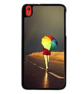 Printvisa Girl Walking With A Multicoloured Umbrella Back Case Cover for HTC Desire 816::HTC Desire 816 G