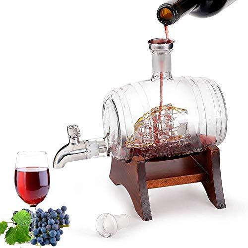 Holzfass weinfass 1L Glas Wein-Fass, Getränke Dispenser, Whiskey Barrel Dispenser mit Hahn for die Lagerung und Alterung Wein, Bier, Spirituosen, es ist der ultimative Getränkekühler Eichenfass