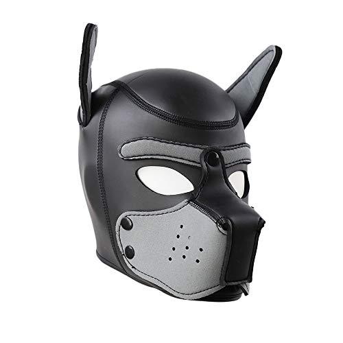 Womens Gummi Hündchen Haube Maske wilde Tierkopf Masken Spielzeug für Kostüm Cosplay,I (Hündchen Kostüm Kit)
