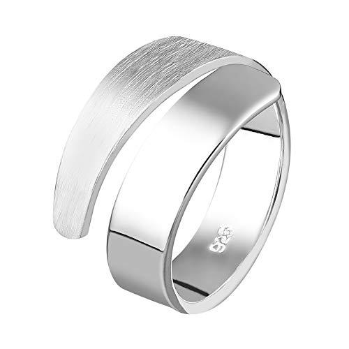 Damen Ring Silber 925 Bandring 14mm Breit Damenring Matt und Glänzend Klassisch Spiral (57 (18.1))