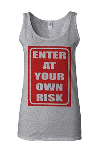 Enter At Your Own Risk Danger Novelty White Femme Women Tricot de Corps Tank Top Vest Gris Sportif