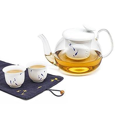 ZENS Service à thé, Théière en Verre Transparente avec infuseur en Porcelaine, 600ml, Résistant à la Chaleur, 2 Tasses avec Motif Paint à la Main et Serviette de thé avec Broderie