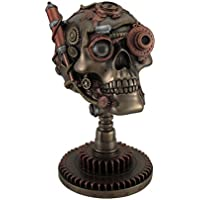 Steampunk Robotic Skull con Gear supporto vetro occhio telescopio oculare H (Bronzo Rame Accenti)