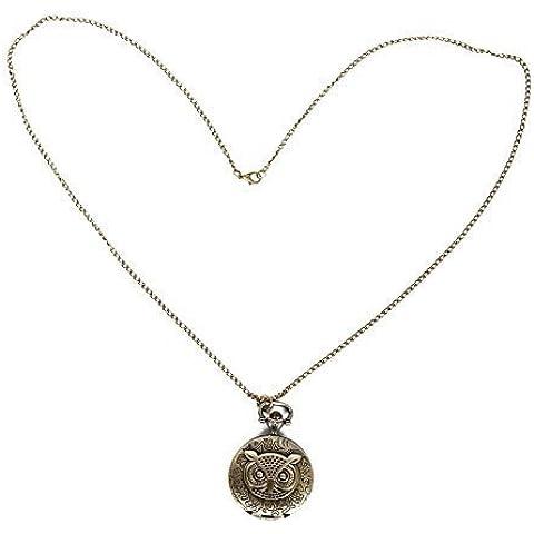 FreshGadgetz Set de 1 Pendiente, collar, reloj de bronce con forma de búho.Tamaño medio.