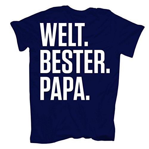 Männer und Herren T-Shirt Weltbester PAPA (mit Rückendruck) körperbetont dunkelblau