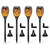 FLOWood Torche de Jardin Torche Solaire Lampes d'Eclairage de Flamme Imperméable LED Extérieures vacillantes de sécurité Lampes Decoration Jardin/Chemins/Noël/Mariage/Fête festival atmosphère-4 Packs