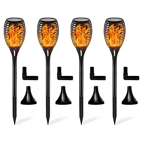 FLOWood 4 Stück Solar Garten Flammen Fackeln LED Bis Dawn Automatische Ein/Aus(Licht Sensor), Solarlampe mit Realistischen Flammen und Wasserdicht,Spotlight Gartenleuchte Licht Solar Außen warmlicht -
