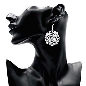 Ohrringe MANDALA Blume versilbert filigran rund handmade einzigartig lang groß leicht Damen Schmuck Design Muster modern…
