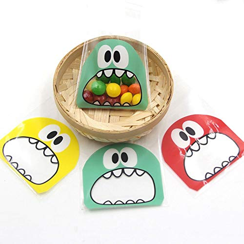 Tyro 100Pcs Cute Small Monster Self Adhesive Biscuit Bags for Kids Birthday Party Supplies Cookie Candy Bags Gift Package