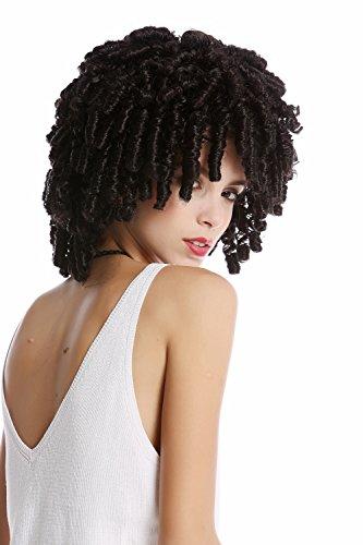 WIG ME UP - MH-07-P1 Perücke Damen Herren Halloween Karneval schwarz Korkenzieher Locken fast wie Rasta Volumen Karibik Voodoo Hexe - Halloween-kostüm Black Afro