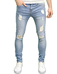 4a8cbafddc Enzo Mens Ripped Super Stretch Skinny Distressed Jeans