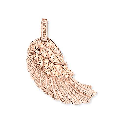 Engelsrufer Flügel Anhänger für Damen 925er-Sterlingsilber rosévergoldet mit champagnerfarbene Kristallen 29 mm