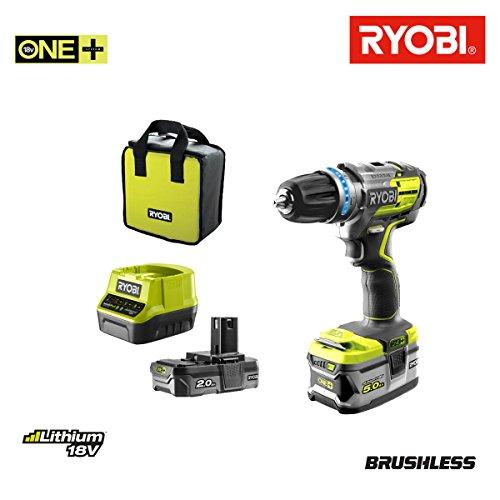Preisvergleich Produktbild Schlagbohrmaschine Brushless RYOBI 18V OnePlus-2Akkus LithiumPlus 5Ah-2AH-Schnellladegerät 2.0Ah-R18PDBL-252S