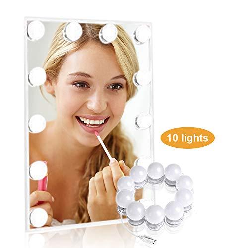 Luci da specchio trucco, LTPAG Kit Luci per Specchio Stile Hollywood, 10 LED USB lampadine specchio trucco dimmerabili con 3 modalità per lo specchio cosmetico, del tavolo di trucco, Comò