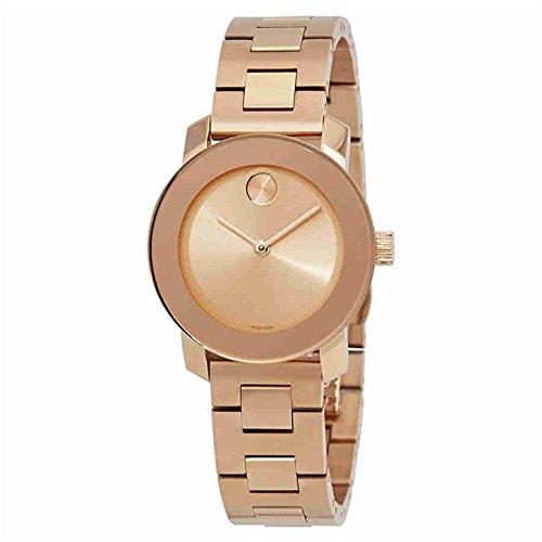 Movado Femme 30mm Bracelet Acier Inoxydable Plaqué Or Quartz Montre 3600435