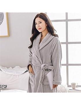 OHlive- Tipo Largo de la Franela Espesada Albornoz de la Pareja cálido Pijama de Invierno Pijama Hombre (Color...