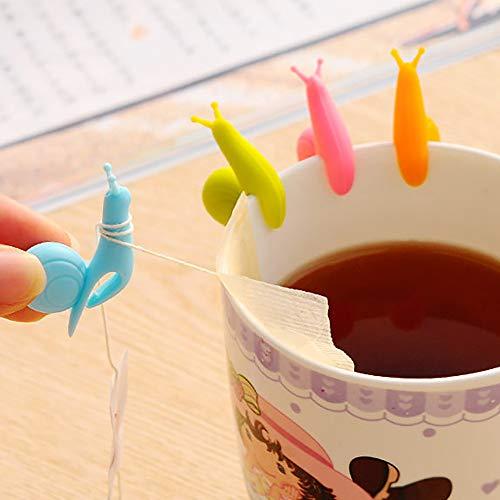 TAOtTAO 10 Schnecketeekannen-Teebeutel hängen 10 stücke Nette Schnecke Form Silikon Teebeutel...