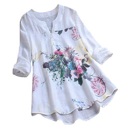 iHENGH Damen Sommer Bequem Mantel Lässig Mode Jacke Frauen mit Langen Ärmeln Vintage Floral Print Patchwork Bluse Spitze Splicing - Florale Geisha Kostüm
