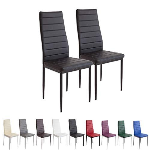 Albatros MILANO - Set de 2 sillas de comedor, estructura metálica y piel  sintética, estilo italiano, negro (2862)