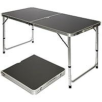 AMANKA Mesa para acampada 120x60x70cm de aluminio plegable portátil como si fuera un maletín altura regulable para pícnic camping Gris Oscuro