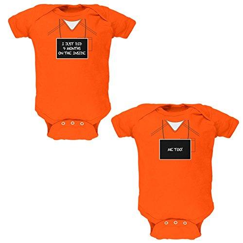 9 Monate innen Gefangener Kostüm weiche Zwillinge Baby ein Stück Orange 9-12 M (Gefangenen Halloween Kostüm)