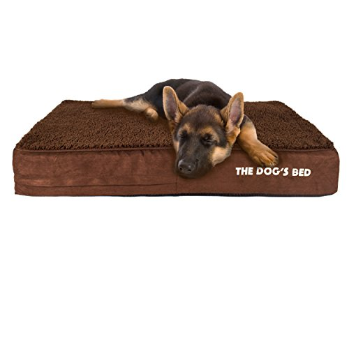 The-Dogs-Bed-Orthopaedic-Dog-Bed-Large-Brown-Plush-101x64cm-Premium-Waterproof-Memory-Foam-Dog-Bed