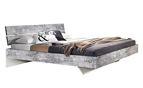 Rauch A0336.70P7 Bett Doppelbett Bett 160 x 200 cm Sumatra-Extra / B 167 H 83 T 215 cm / Korpus/Fronten: Vintage-Optik-Grau, Absetzungen: Weiss