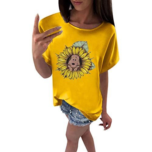 OVERDOSE Oberteile Frauen Kurzarm Blumen Gedruckt Tops Strand Beiläufige Lose Bluse Top T-Shirt Blusentops Sommerbluse Damen Tees (EU-44/CN-XXL, X-h-gelb)