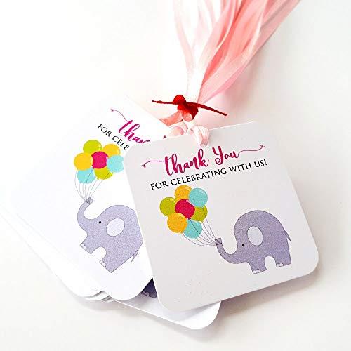 Adorebynat Party Decorations - EU Rosa danken Ihnen für das Feiern mit uns Elefant Bevorzugung etikettiert - Geburtstag Baby-Partei-Dusche - Set 12 (Danken Ihnen Baby-dusche Geschenke)