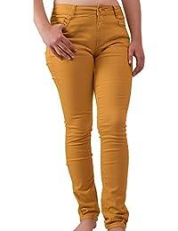 Primtex Jean Femme Jaune Moutarde Coupe Slim Taille Haute Stretch- 07f21e3516ec