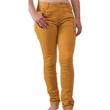 636f8f7d664d0 Primtex Jean Femme Jaune Moutarde Coupe Slim Taille Haute Stretch-