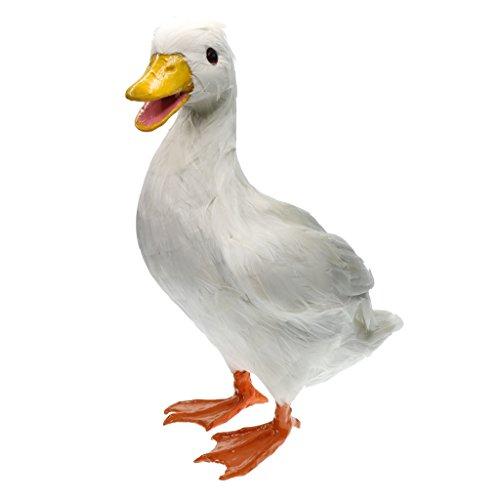 SM SunniMix Künstliche Dekovogel Ente Vogel Mit Federn Gefiederter, Süßer Hingucker Im Garten/Teich - Weiße Ente, 19x30cm