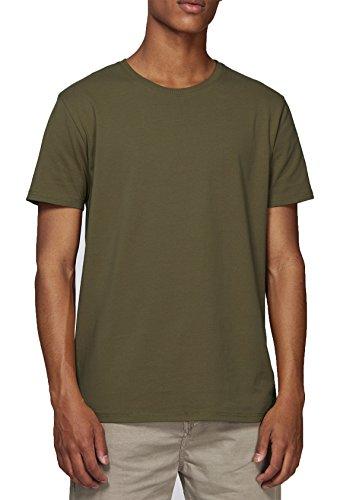 Baumwolle Schwarz Europäische Kragen-shirt (YTWOO Herren Basic Premium T-Shirt Rundausschnitt (200g/m2) Bio-Baumwolle Schwarz und Navy nachhaltige und Faire Mode Organic Cotton, GOTS (L, British Khaki))