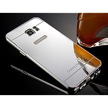 Espejo Carcasa para Samsung Galaxy Note 5 [Color Plata] Silver, Belleza Aleación de Aluminio Funda Ultra Delgada de Metal Electrochapa Plating Bumper Case Cover Mirror Espalda Panel Duro Caso de la Cubierta para Samsung Galaxy Note 5