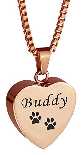 PERSONALISED Pet Cat Dog Paw Print Rose Gold Urne Anhänger-Memorial Asche Andenken-Verbrennung Schmuck -