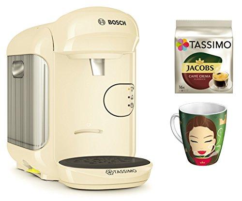 Bosch TASSIMO Vivy 2 Bundle + Ritzenhoff Sammelbecher 14. Edition + TDisc Caffe Crema classico (Creme)