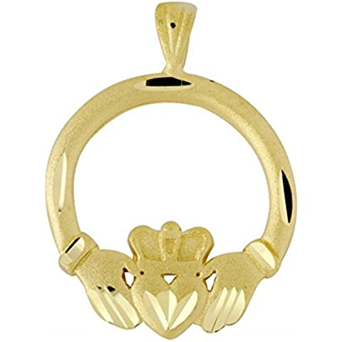 Piccoli Tesori - Collanae Pendente - - 14 ct 585/1000 Claddagh Oro Diamantes Pendant Coupé- - 14k Claddagh Pendente