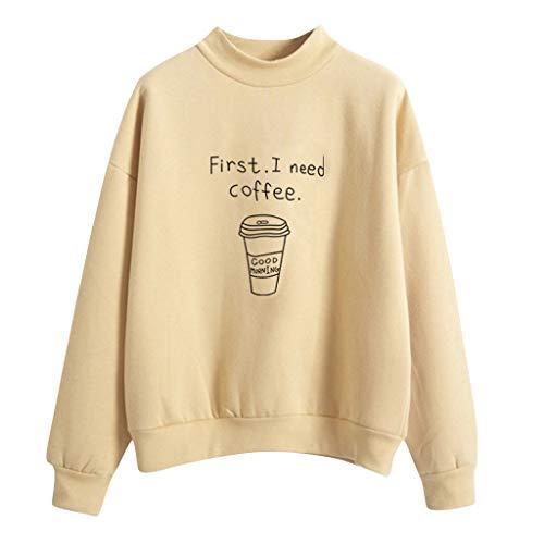 BURFLY Mode Damen Oberteil, Herbst Winter Neue Frauen O-Ansatz Normallack Kaffeetasse Muster Lange Hülse Plus Samt Sweatshirt Pullover