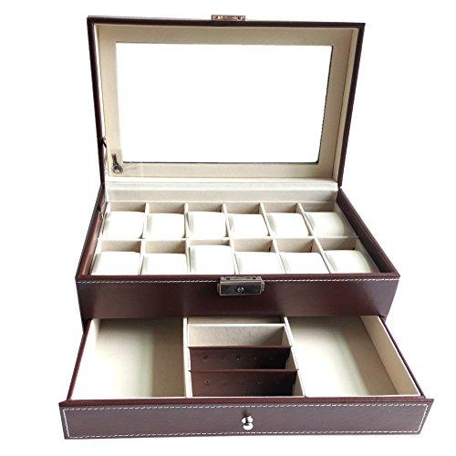 Feibrand PU Uhrenbox für 12 Uhren Armbänder und Manschettenknöpfe (Braun)