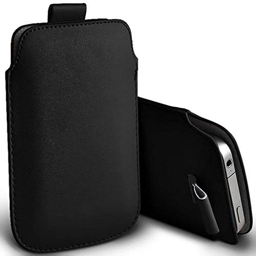Price comparison product image I-Sonite (Black) Premium Slip In Pull Tab Sleeve Faux Leather Pouch Case Cover For Sony Xperia XZ2 Compact [XL]