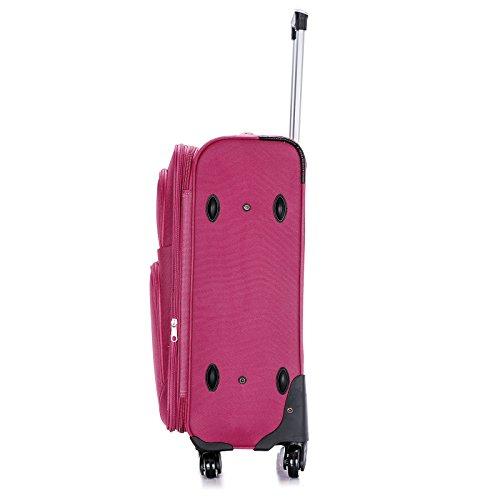 WOLTU® RK4215kk-XL-a , Reisekoffer Trolley 4 Rollen Stoff Weichschale , Reise Koffer 1200D Oxford Weichgepäck , Reisegepäck Handgepäck M / L / XL / Set , leicht günstig , Khaki (XL, 76 cm & 110 Liter) Pink