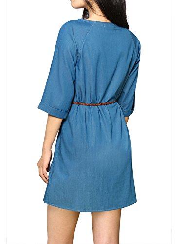 Allegra K Frauen 3/4 Ärmel Rollrand Pullover Gurtgesichert Denim Tunikakleid de Blau