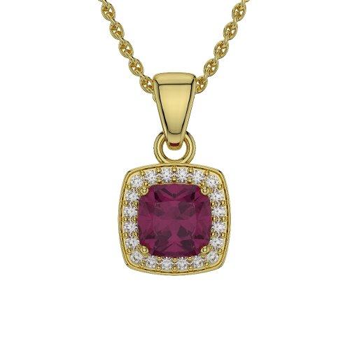 Or jaune 18carats 2ct G-H/VS Certifié Coussin forme Rubis et diamant Colliers Agdnc-1061